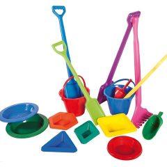 Didelių įrankių rinkinys smėlio dėžei