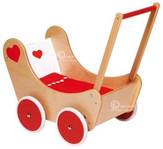 Vežimėlis lėlei, raudona-balta