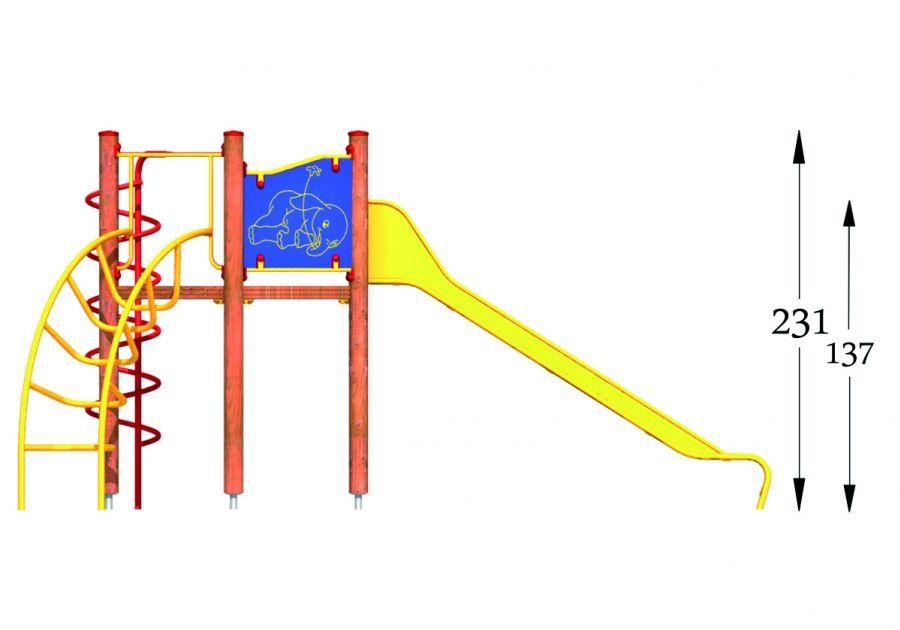 Čiuožykla su lenktomis ir spiralės kopetėlėmis Nr:P06