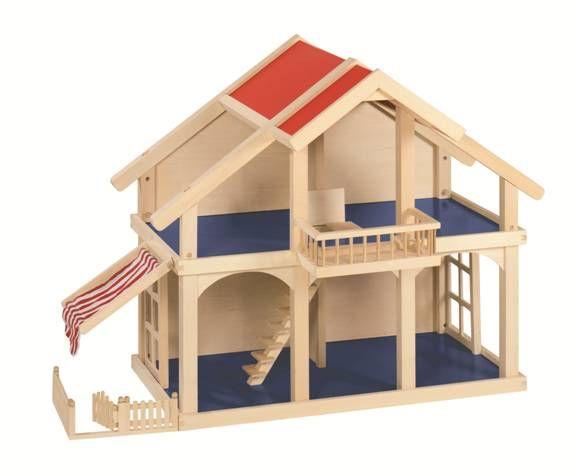 Medinis lėlių namelis su veranda