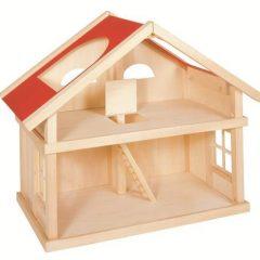 Dviejų aukštų medinis lėlių namas