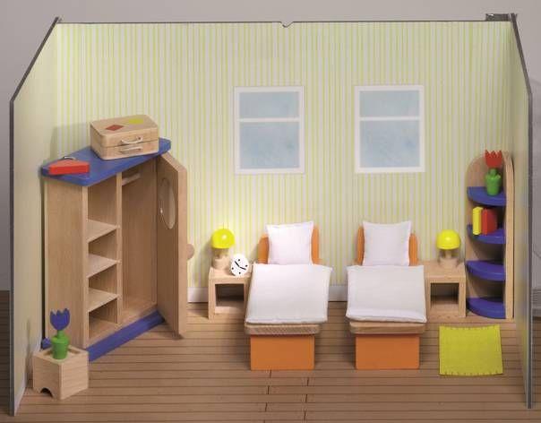 Miegamojo baldai lėlių nameliui