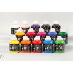 Įvairių spalvų akriliniai dažai