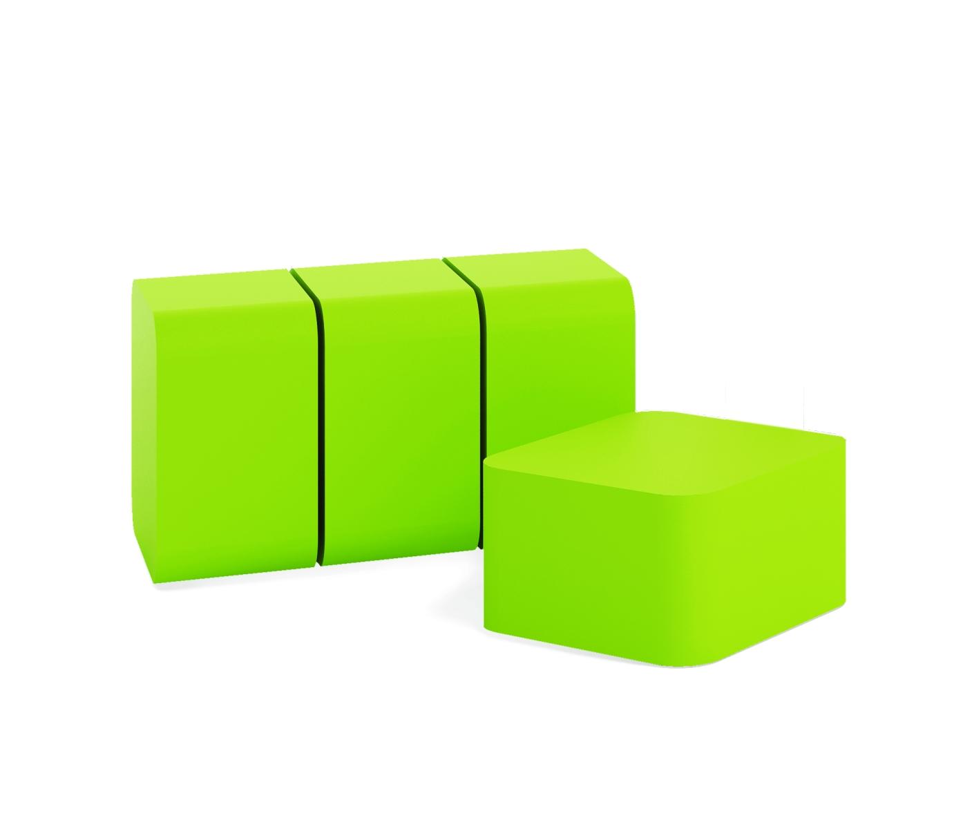 4 žalių pufų komplektas