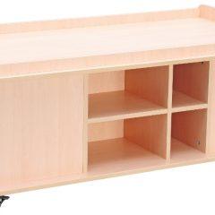Stačiakampis žaidimų stalas su vieta žaislams laikyti