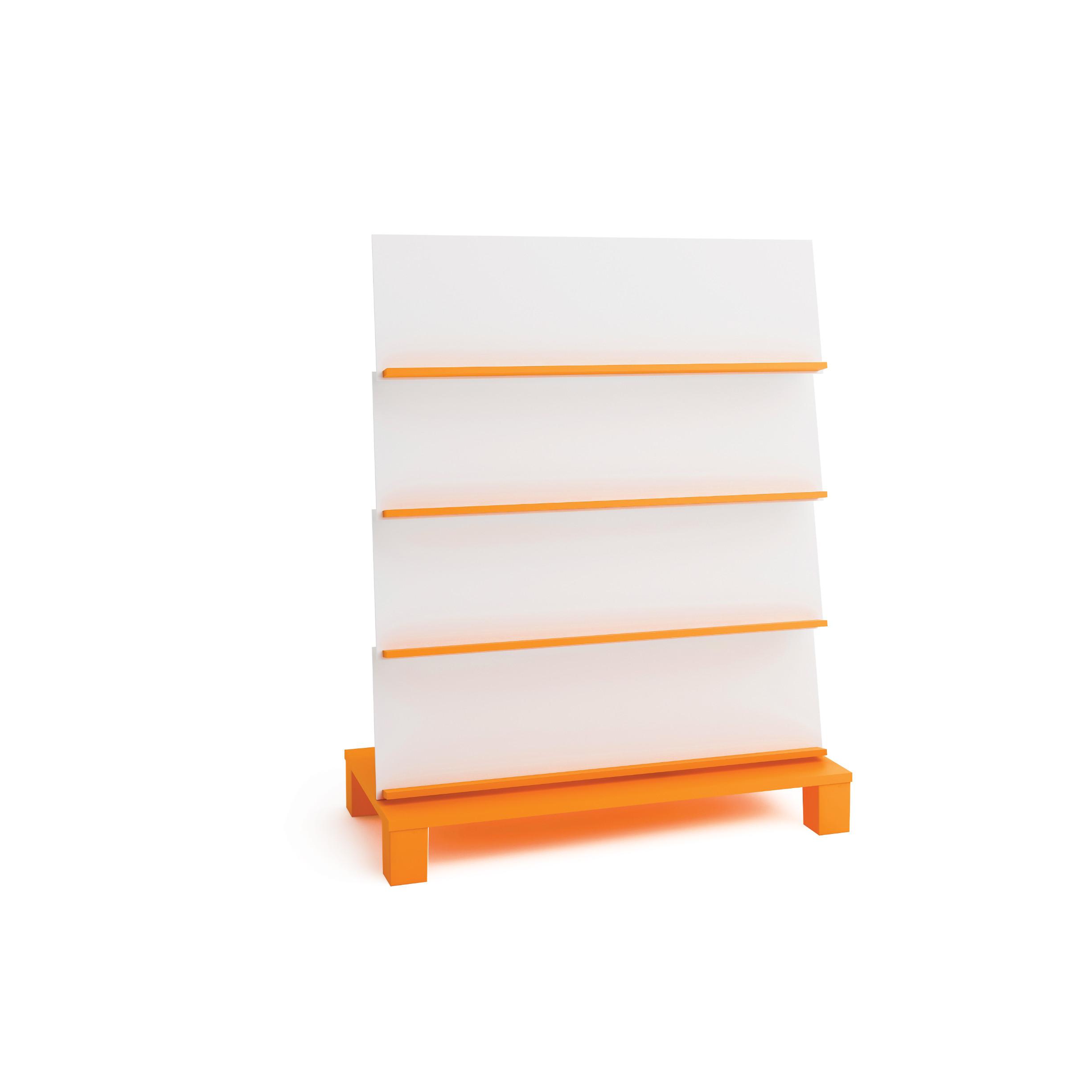 """Ekspozicinis knygų stendas, oranžinės spalvos, linija """"Gaivumas"""""""